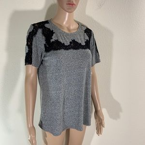 Rebecca Taylor Lace Accent Gray Tee Shirt Top M